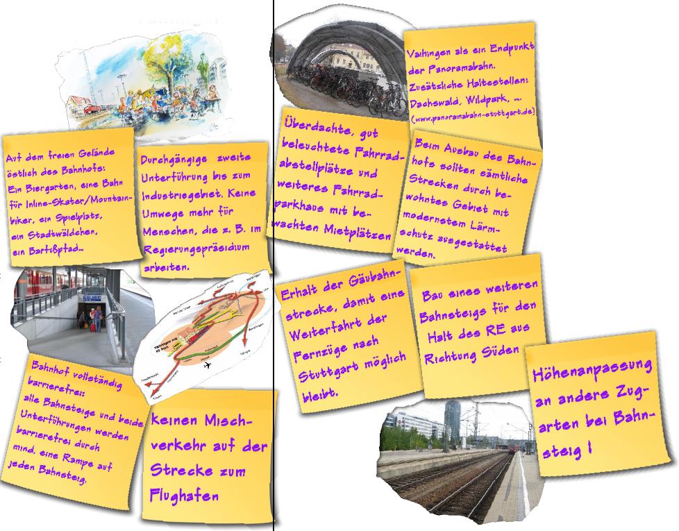 Ideen für den Ausbau des RE-Halts in S-Vaihingen